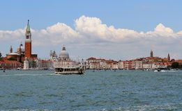 Bell tower of Saint George in the venetian lagoon Stock Images