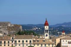 Bell tower of Saint Spiridon church Corfu town Stock Photo