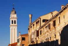 The bell tower of San Giorgio dei Greci church, Venice Stock Photo