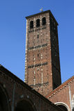 Bell tower - SantAmbrogio church - Milan - Italy Stock Images