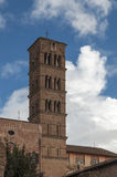 Bell tower of Santa Francesca Romana. Church in Rome, Italy, situated next to the Roman Forum in the rione Campitelli royalty free stock photography