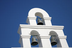 Bell Tower Santorini Style. Bell Tower ,Santorini Style and blue sky stock photos