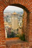 Bell tower in Savona view from the Priamar fortress. Liguria, Italy Royalty Free Stock Photos