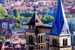 Bell tower of St. Dionysius church in Esslingen Stock Photography