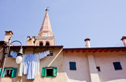Bell tower of the St. Euphemia Basilica, Grado Stock Image