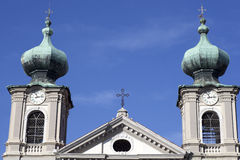 Bell tower, St. Ignatius church in Gorizia Royalty Free Stock Images