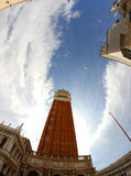 Bell Tower of St. Mark and the big St. Mark square with fisheye Stock Photo