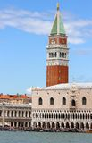 Bell Tower of St. Mark and the Ducal Palace in Venice in Italy Stock Images