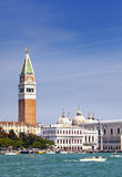 Bell tower of St Mark's Basilica and The Doge's Palace, Venice, Italy Stock Photos