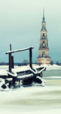 Bell tower of St. Nicholas Cathedral. Kalyazin stock images