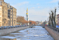 Bell tower of St. Nicholas Cathedral and Kryukov Canal. Royalty Free Stock Photo