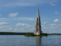 The Bell Tower of St.Nicholas Cathedral at Volga river. Kalyazin, Russia, Tverskaya oblast. Russian wonder royalty free stock photography
