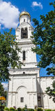Bell tower of  St. Nicholas Church in the village of Rogachevo Stock Images