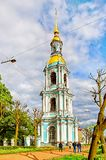 Bell tower of St. Nicholas Naval Cathedral, Saint Petersburg stock photo