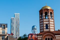 Bell tower of St. Nicholas Orthodox Church in Batumi, Georgia royalty free stock photos