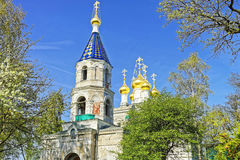 Bell tower of St Nicholas Orthodox Church in Ventspils Stock Photography