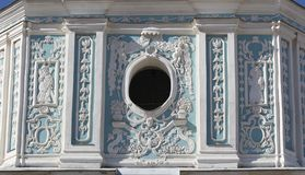 The bell tower of the St. Sophia Cathedral in Kiev. Ukraine. fragment. NBass-relief in Ukrainian baroque style on the Bell tower of the Saint Sophia ancient stock image