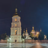 Bell tower of St. Sophia Cathedral in night royalty free stock photos
