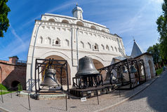 Bell tower of St. Sophia Cathedral in Novgorod kremlin, Russia. NOVGOROD, RUSSIA - JULY 23, 2014: Bell tower of St. Sophia Cathedral in Novgorod kremlin. Veliky royalty free stock images