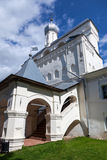 Bell tower of St. Sophia Cathedral. In Velikiy Novgorod, Russia stock photography