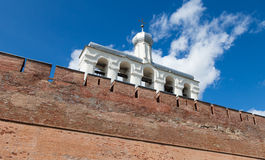 Bell tower of St. Sophia Cathedral. In Velikiy Novgorod, Russia Royalty Free Stock Photo