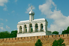 Bell tower of St. Sophia Cathedral. Veliky Novgorod ancient Russian city royalty free stock photo