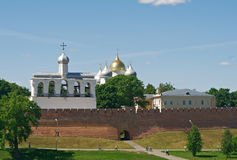 Bell tower of St. Sophia Cathedral. Veliky Novgorod ancient Russian city Stock Photos