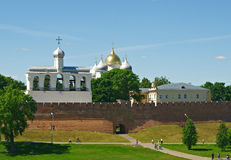Bell tower of St. Sophia Cathedral. Veliky Novgorod ancient Russian city stock image