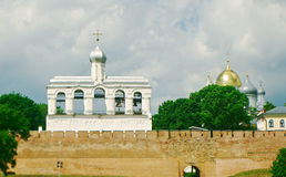 Bell tower of St. Sophia Cathedral. Veliky Novgorod ancient Russian city Stock Photography