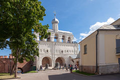 Bell tower of St. Sophia Cathedral in Veliky Novgorod Stock Photo