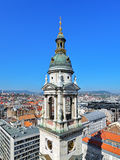 Bell tower of St. Stephen's Basilica and view of Budapest, Hungary Royalty Free Stock Photos