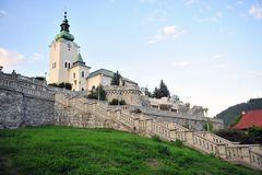 Bell tower and stairs, Ruzomberok town. Slovakia stock photography