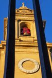 Bell tower of the Pamplona Cathedral, in Navarre, Spain, architectural detail stock photography