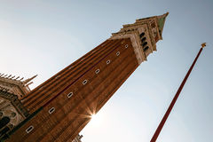 Bell tower in sunlight. San Marco square in Venice, Italy Stock Photography