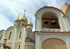 Bell tower in the temple of the Blessed Matrona of Moscow in the process of building and finishing works, Dmitrov district of the Stock Photography
