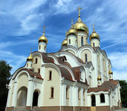 Bell tower in the temple of the Blessed Matrona of Moscow in the process of building and finishing works, Dmitrov district of the Royalty Free Stock Photography