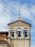 Bell tower with three bell in a ancient church in venice in ital Stock Photos