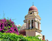 Bell tower in the town of Corfu, Greece, Europe Stock Photos