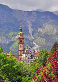 Bell tower in tyrolean Alps Royalty Free Stock Photography