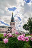 The bell tower of the Valdai Iver Monastery in Valdai Royalty Free Stock Photo