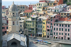 Bell tower of Vernazza. Vernazza and its octagonal bell tower. Vernazza is a famous village of Cinque Terre, suspended between sea and land on sheer cliffs upon stock image