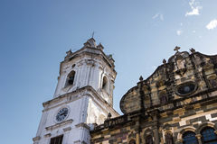 Bell tower. Very detailed bell tower of the main church of Casco Viejo, Panama Royalty Free Stock Image
