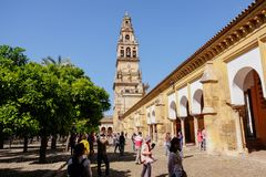 Bell tower view from courtyard Mezquita, Mosque-Cathedral of Cordoba, Spain. stock photography