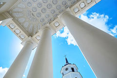 Bell tower of Vilnius cathedral over the blue sky. With clouds. Old town of the capital of Lithuania Stock Photography