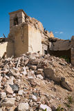 Bell tower of Visso church destroyed by terrible earthquake. Italy stock images