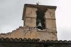 Bell tower of Visso destroyed Stock Image