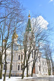 Bell tower in Voskresensky Novodevichy Convent. Royalty Free Stock Images