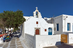 Bell tower of White orthodox church in Mykonos, Islands, Greece Stock Images