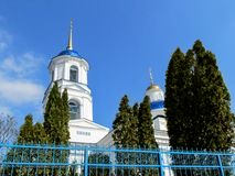 Free Bell Tower With White Walls, Blue Dome And Golden Spire Of Temple Of Prophet Elijah In Sumy Stock Photo - 146282890