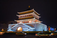 Bell Tower in Xian. At night with illumination Stock Image